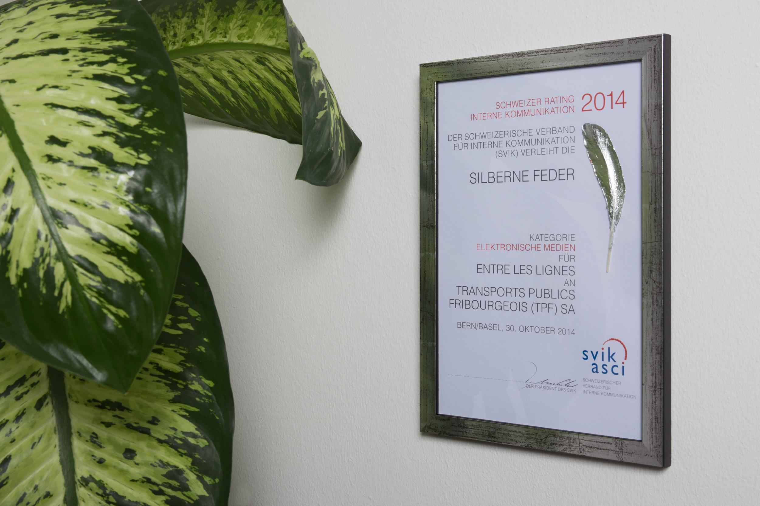 Frank R - Plume d'argent aux Swiss Communication Awards SVIK 2014
